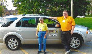 Navigator Luci and Driver Paul at the Burlington, 2016 VIP Car Rally