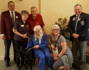 (Seated) Zorge, Marie, and Zorge's foster mom Linda (Standing) Lions Yves Drouin, Paddy Townson, Fred Zorge and Wayne Hoey